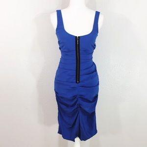 Nicole Miller blue silk slinky dress